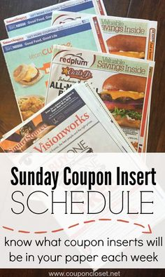 Here is the 2015 Sunday Coupons Insert Schedule. Here is the list of what coupon inserts will be in the newspaper each week.