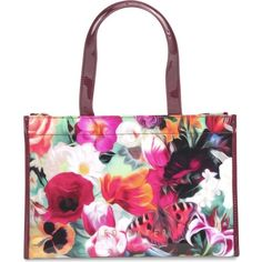 TED BAKER Floral-print shopper and flip-flop set ($98) ❤ liked on Polyvore featuring bags, handbags, tote bags and deep pink