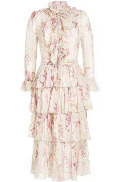 Printed Silk Dress with Ruffles   Zimmermann