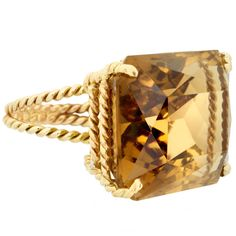 Citrine Gold Rope Ring | 1stdibs.com #1DHoliday