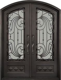 62x82 Ocean Wave Iron Double Door. Beautiful wrought iron front entry door with grille from Door Clearance Center.