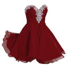 A-line Sweetheart Short Chiffon Rhinestone Homecoming Dresses Burgundy 0 ~ 2