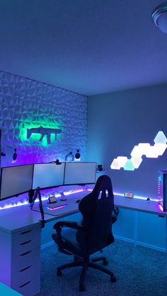 Living Room Setup, Bedroom Setup, Room Ideas Bedroom, Computer Gaming Room, Computer Desk Setup, Gamer Setup, Pc Setup, Desk Pc Build, Tech Game