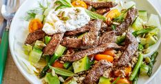 Get your vegie fix with this tasty tender beef and grain salad. Topped with labneh and garnished with mint, this dish is perfect for the warmer months.