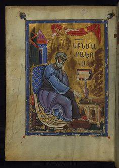 T'oros Roslin Gospels, Portrait of the Evangelist Matthew, Walters Manuscript W.539, fol. 13v