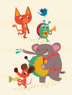 a collection of children character animal illustrations by Jamie Oliver Aspinall, via Behance