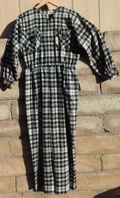 Vintage Womens 80's Black White Plaid Checks One Piece Pants Romper Jumpsuit  #VintageCotton #Jumpsuit
