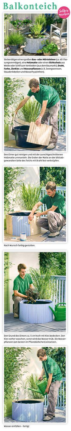 Grüne Träume! So bastelst du dir deinen eigenen Balkonteich. Weitere tolle DIY Ideen findet ihr in unserem Magazin.