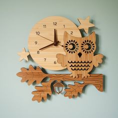 Night Owl Bamboo Wood Wall Clock for Kids Nursery