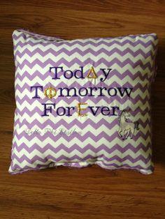 Delta Phi Epsilon Purple Chevron Today Tomorrow Forever Customizable Pillow