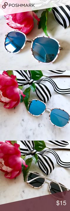 RESTOCKED✨ Blue Mirrored Marbled Sunglasses 🌸BOUTIQUE ITEM🌺  🚨SALE EXTENDED🚨: Bundle 2+ items and get an automatic ✨25% Off!✨ Offers also welcome!  Make a classically cool statement in these blue and white marbled sunnies! Featuring white and black marbled rims, mirrored blue lenses, plastic ear pieces, and adjustable nose pads for a perfect fit. Accessories Sunglasses
