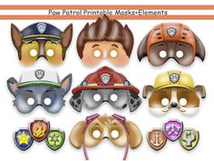 Unique PAW Patrol Printable Masks,party masks,birthday,decoration,invitation,Ryder,Chase,Skye,Rocky,Zuma,Rubble,costume,photo props,Disney by HolidayPartyStar, $6.91 USD