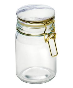 Amici Home Carrara Marble Jar Glass Storage Canister, 32 oz, Clear Storage Canisters, Glass Canisters, Kitchen Canisters, Jar Storage, Marble Jar, Carrara Marble, Glass Spice Jars, Glass Jars, Copper And Marble