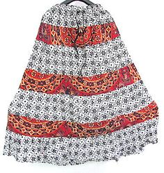 Ladies Ethnic Dress Floral Patch Work Cotton Patch Work Mid-Calf Skirt