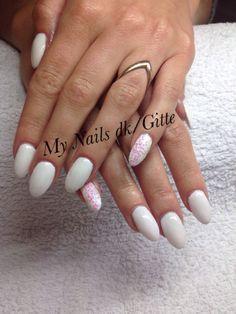 CND Brisa gel forlængelse m/ CND Shellac Cream Puff og nailart. ❤️ love it. Wedding Nails. Summer Nails