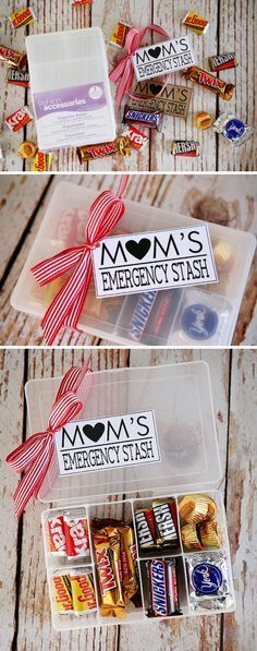 Mom's Emergency Stash. Customize the container with vinyl stickers from Wall Décor Plus More!