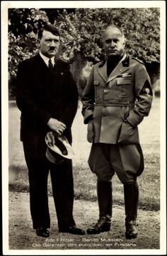 Adolf Hitler in mufti and Benito Mussolini in the early years of their alliance, probably 1933-34. It was the rare occasion when Hitler would allow himself to meet with Mussolini without wearing his party uniform.