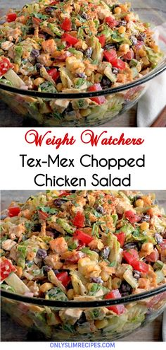 Tex-Mex Chopped Chicken Salad // Food Recipes For Dinner, Food Recipes Deserts Summer Recipes, New Recipes, Cooking Recipes, Recipies, Juice Recipes, Ninja Recipes, Blender Recipes, Cooking Hacks, Cooking Wine