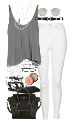 """""""Outfit with a grey tank and white jeans"""" by ferned ❤ liked on Polyvore featuring Topshop, T By Alexander Wang, Forever 21, Yves Saint Laurent, CÉLINE and Mor"""