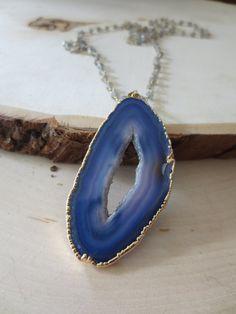 Agate necklace agate slice necklace agate by PanachebyAmanda