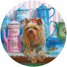 Yorkie and Antique Jugs 1000 Piece Round Jigsaw Puzzle
