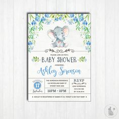ELEPHANT Baby Shower Invitation. Printable. Baby Boy. Woodland Baby Shower Invite. Little Peanut. Blue Flowers. Jungle. Floral Shower