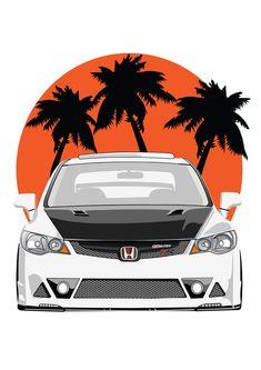 Honda Civic TypeR mugen illustrator beach - All About JDM Car Honda Civic Type R, Civic Car, Disney Cars Wallpaper, Sports Car Wallpaper, Jdm Wallpaper, Honda Crv, Honda Civic Hatchback, Honda Sports Car, Cool Car Stickers