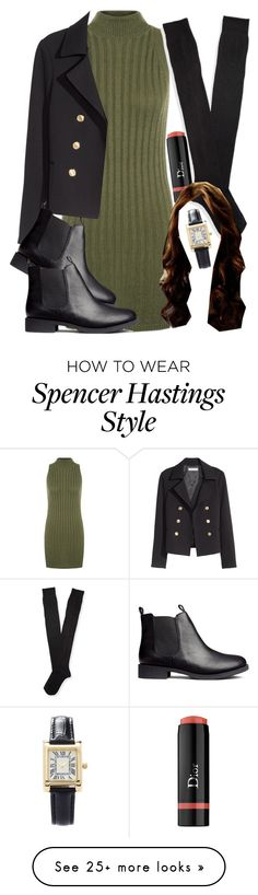 """Spencer Hastings inspired outfit with black over-the-knee socks"" by liarsstyle on Polyvore featuring mode, WearAll, H&M, Aéropostale, Christian Dior, Forever 21, college et mid"