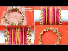 How To Make Bridal Silk thread Bangles At Home||silk Thread Kada - YouTube