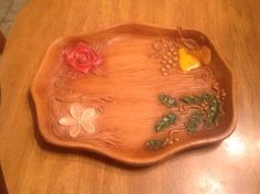 """Vintage-Mid-Century-Modern-Multi-Products-Faux-Wood-Platter-Colorful-Decor 12"""" long by about 10"""" wide"""