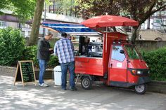 Mobile Cafe in Cologne, Germany Mobile Cafe, Green Cafe, Piaggio Ape, Coffee Carts, Car Shop, Cologne Germany, Soy Milk, Food Trucks, Caravans