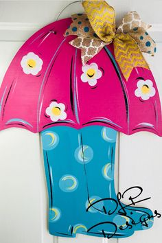 Umbrella and Rain Boots Door Hanger Custom Door Hangers, Burlap Door Hangers, Wooden Door Signs, Wooden Doors, Wood Signs, Painted Doors, Painted Signs, Door Hanger Template, Spring Sign