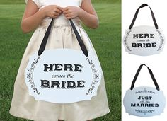 Gems Wedding Supplies - Here Comes the Bride Two Sided Wedding Ceremony Sign, $39.95 (http://www.gemsweddingsupplies.com.au/here-comes-the-bride-two-sided-wedding-ceremony-sign/)