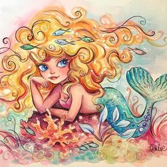 Mermaid watercolor by Denise Ferragamo Siren Mermaid, Mermaid Cove, Mermaid Fairy, Mermaid Kisses, Cute Mermaid, Vintage Mermaid, Tattoo Mermaid, Mermaid Lagoon, Fantasy Mermaids