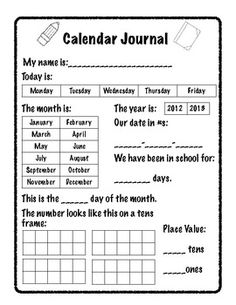 A calendar journal page with a little modification can be for 2nd grade!  Great idea for interactive math journal!