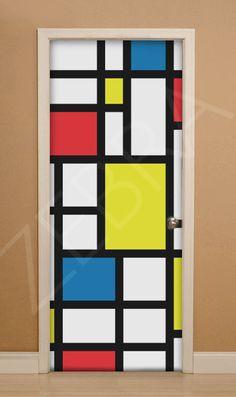 Nueva puerta 33 inspiración Mondrian de ZEBRA VINILOS