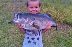 """When was the last time you caught a bass almost bigger than you are?! """"At the last minute we decided to go fishing ... It was the first and only cast of the evening and my 4 year old caught this. He was very proud and so are we. This is his biggest fish and he has been fishing since he was 1 year old."""" Reighly Wise is off to a very good start with his first TrophyCatch bass, at 9 lbs, 5 oz! Congratulations, and we expect to see more!"""