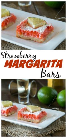 Strawberry Margarita Bars – a twist on a classic lemon bar.  Strawberry, lime, and tequila make these taste like the classic strawberry margarita in dessert form.