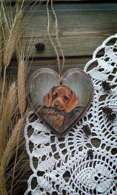 Купить подвеска - сердце Милый друг - коричневый, подвеска, Декупаж, подарки ручной работы
