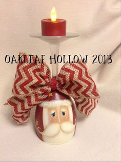 I love painting Santas! Santa Wine Glass Candle Holder Handpainted WCCOFG by OakleafHollow, $15.00
