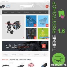 Thème PrestaShop 1.6 responsive Bootstrap pour site en ligne destiné à la vente d'équipements de plongée  : stabilisateur, palmes, combinaisons, blocs,…