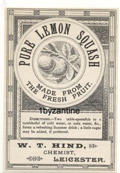 Bottle Label Vintage Leicester W T Hind Lemon Squash Drink Mineral water Squash Drink, Mineral Water, Bottle Labels, Leicester, Summer Drinks, Vintage Ads, Bottles, Pure Products, Ebay
