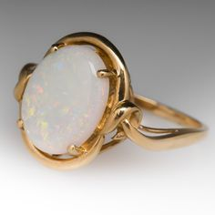 Natural+White+Opal+Cabochon+Gemstone+Ring+14K+Gold