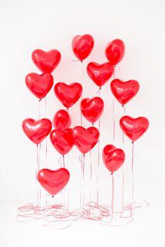 Воздушные шары сердца 30 см, красный, 15 шт