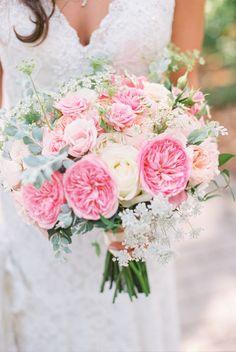 Dreamy pink and white garden rose bouquet: http://www.stylemepretty.com/california-weddings/goleta/2016/05/03/first-they-designed-her-engagement-ring-then-they-designed-their-dream-wedding/ | Photography: Michael + Anna Costa - http://michaelandannacosta.com/