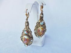 VINTAGE GOLD PLATE ROMANTIC PIERCED EARRINGS W/FAUX PEARLS & AB CRYSTALS