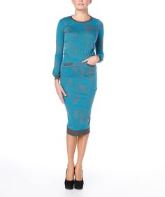 Look at this #zulilyfind! Turquoise & Gray Floral Bodycon Dress by FX Missony #zulilyfinds