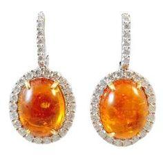 Karina Brez Mandarin Orange Garnet Diamond Gold Earrings