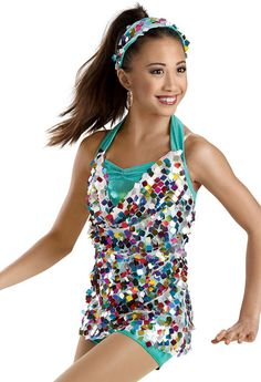 Rainbow Sequin Tunic Biketard -Weissman Costumes