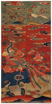 Antique Ming Dynasty Phoenix Kesi Hanging peony peaches